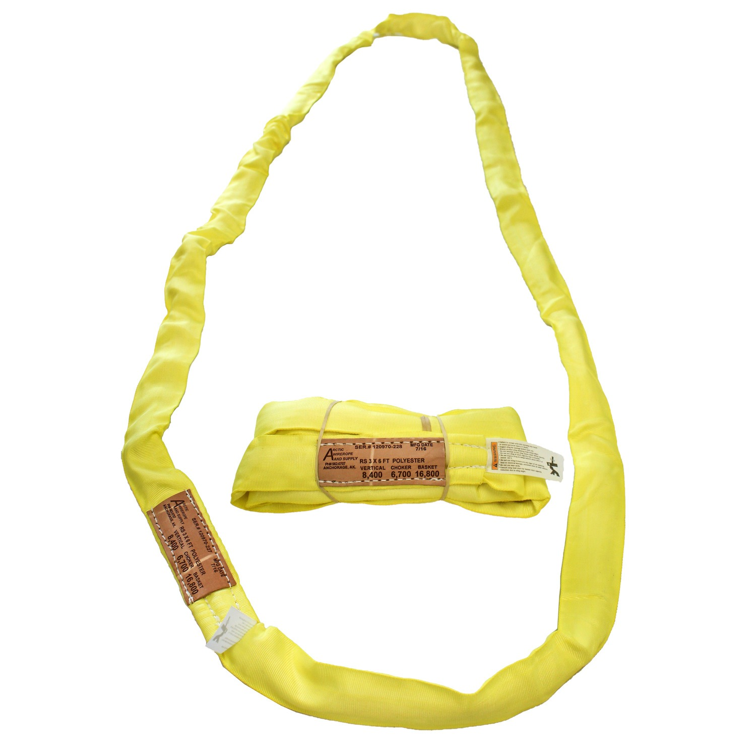 RS-3 Yellow Polyester Round Sling   Arctic Wire, Rope & Supply